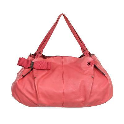 ribbon point shoulder bag pink